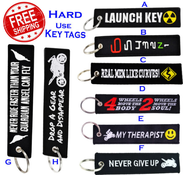 Motorcycle Car Bike Pilot Embroidery Keychain Embroidered Key Metal Ring Key Tag $4.80