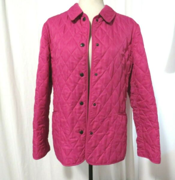 Burberry Women#x27;s Fuchsia Pink Quilted Field Jacket Size M $150.00