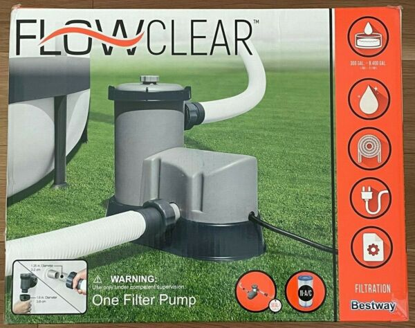 NEW BESTWAY FLOWCLEAR 1500 GPH ABOVE GROUND SWIMMING POOL FILTER PUMP 58390E $209.99