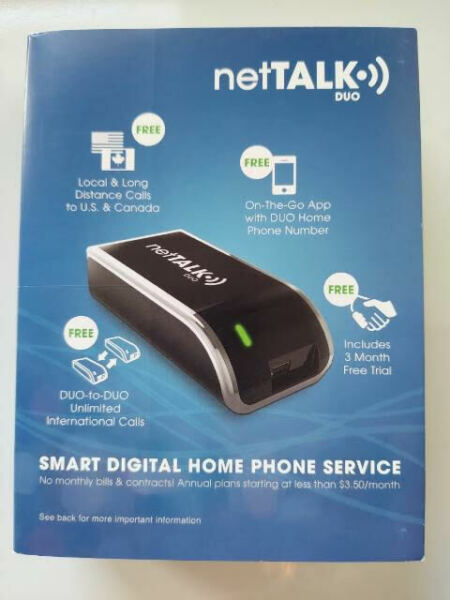 NetTalk Duo Home Phone Line VoIP Service Like Magic Jack {3 months FREE Service} $16.99