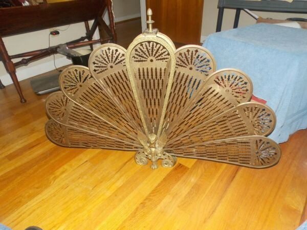 VINTAGE BRASS PEACOCK FIREPLACE SCREEN WITH GARGOYLS