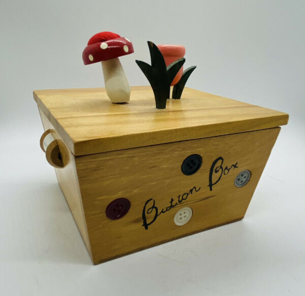 Vintage Wooden BUTTON BOX Pincushion and Thimble Holder EX