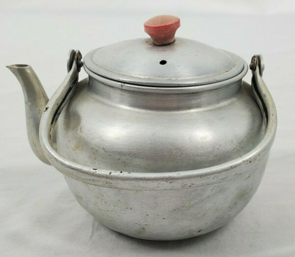 VINTAGE Small Aluminum Tea Pot with Red Knob On Lid 3 Star Stamp Made in Japan