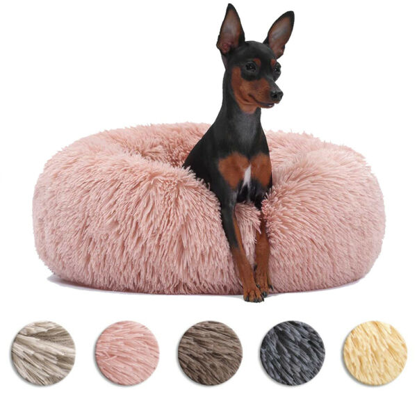 20 Inch Soft Fluffy Cat Bed Calming Donut Cuddler Washable Puppy Dog Sofa Beds $17.95