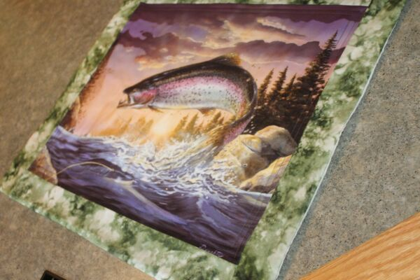Green Lake Fish 20 X 23 Handmade Quilted Table Runner $16.95
