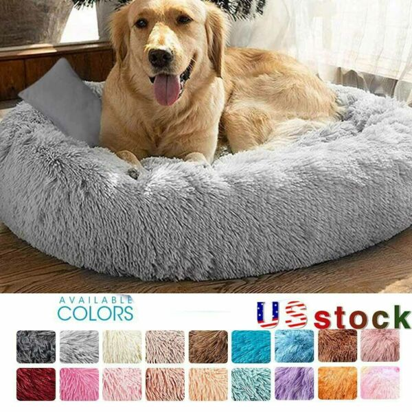 Long Plush Dog Beds for Large Dog Pet Cat Calming Beds Mattress for Anti Anxiety $28.99