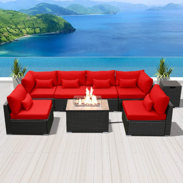 Sunpeak Fire Table Set Sectional Outdoor Furniture Propane Firepit Dark Brown Ra