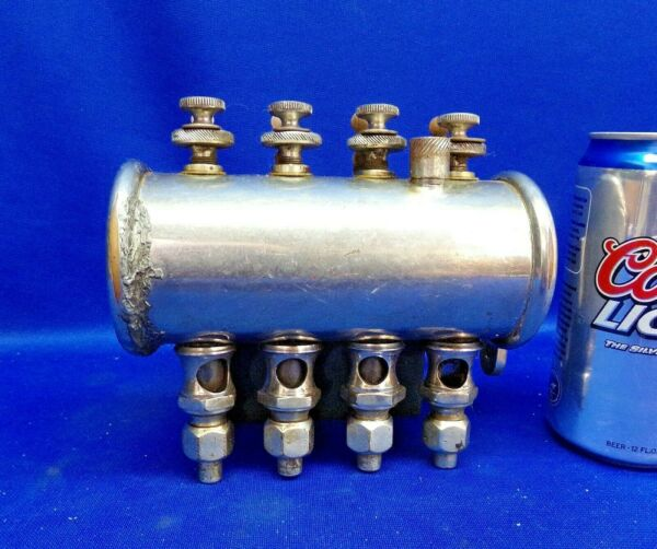 Small Nickeled 4 Feed Gang Gravity Oiler for Gas Steam Engine $125.00