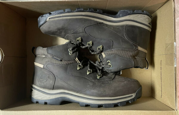 Timberland Boys US Size 7M Waterproof Brown Leather Lace Up Hiking Boots 66961 $39.99