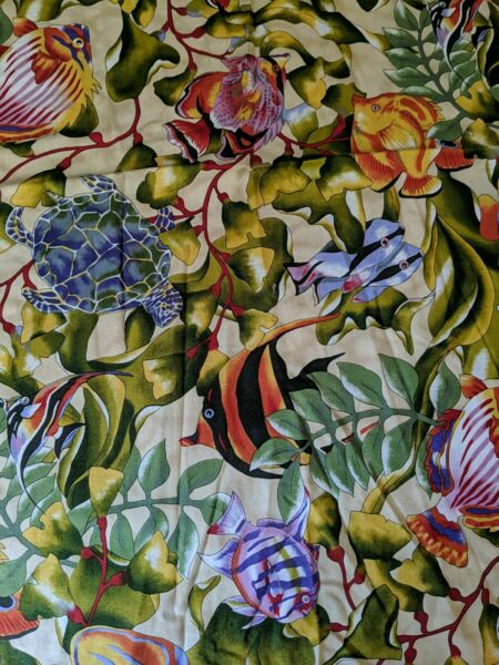 Tropical Fish 100% Cotton Quality Vintage pre washed Fabric 24quot; $7.50