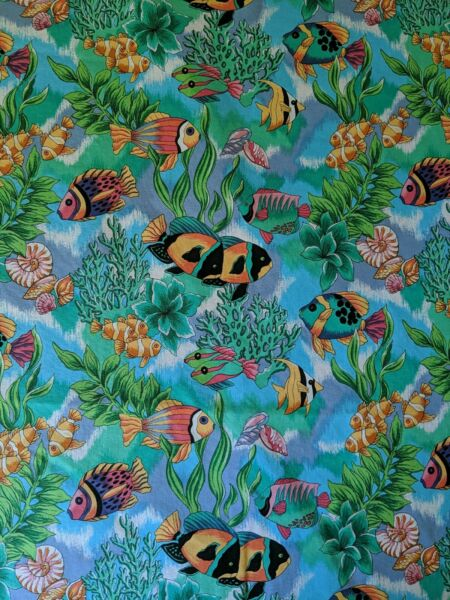 Tropical fish 100% Cotton Quality Vintage pre washed Fabric 19quot; x44 width $5.00
