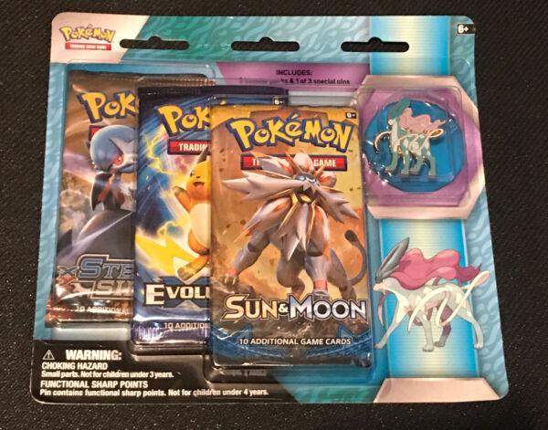💦 Pokémon TCG: 3 Booster Packs amp; Suicune Collector#x27;s Pin 💦 BEST PRICE $$$