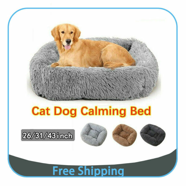 Large dog beds X Large for Large Dogs Long Plush Pet Cat Calming Bed Cushion $39.99