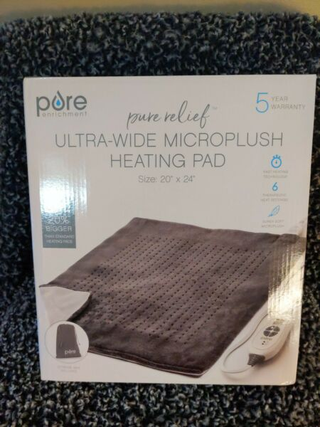 Pure Enrichment PureRelief XXL Electric Heating Pad 6 Temperature Settings Gray $32.99