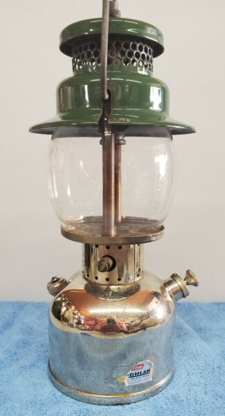 Coleman 242C Nickel On Brass Tank Lantern W Rising Sun Globe 8 49 $359.00