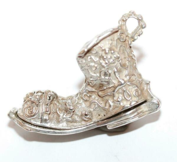 Vintage Chim Boot Opening To Man And Dog Sterling Silver Charm Larger $29.99