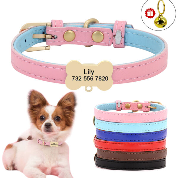 Cute Custom Personalized Dog Leather Collar Bone ID Tag Engraved XS S Dog amp; Cat $8.99