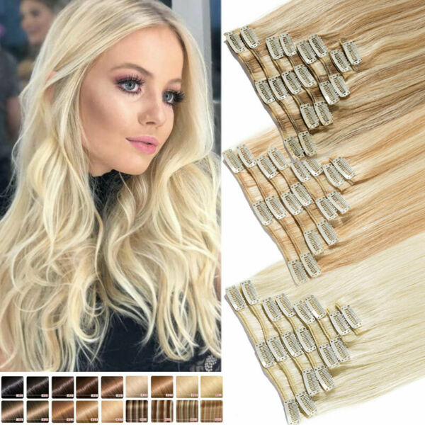 CLEARANCE 100% Human Hair Seamless Clip in Remy Hair Extensions Full Head Blonde