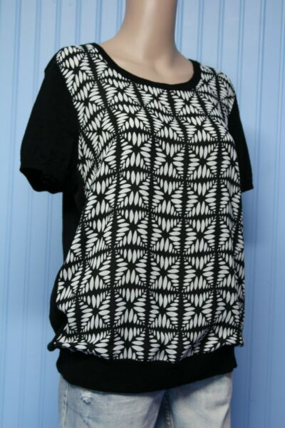 J. CREW unusual black short sleeve sweater with black print woven front Large $14.97