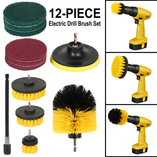 12 PCS Drill Brush Attachment Set Power Scrubber Cleaning Kit for Tile Kitchen $21.99