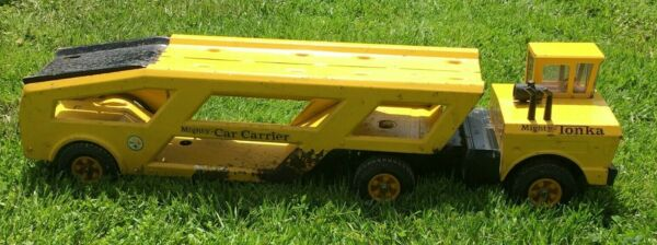 Vintage Pressed Steel Mighty Tonka Truck amp; Car Carrier 36 Inches Long $104.99