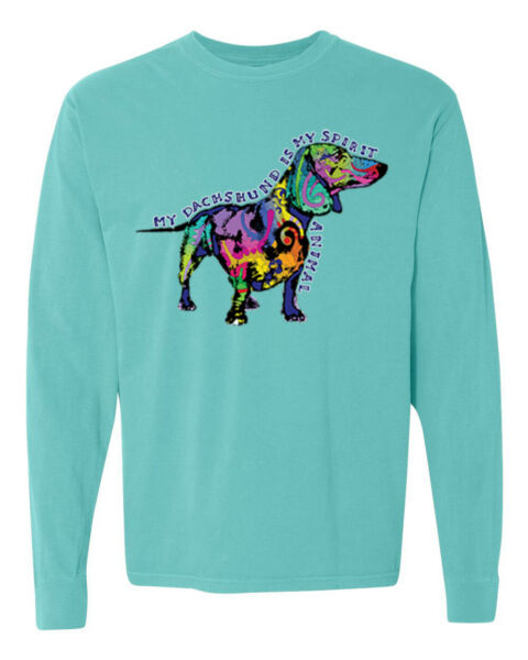 Colorful Dachshund Is My Spirit Dog Dogs Garment Dyed Long Sleeve Tee Shirt $27.99