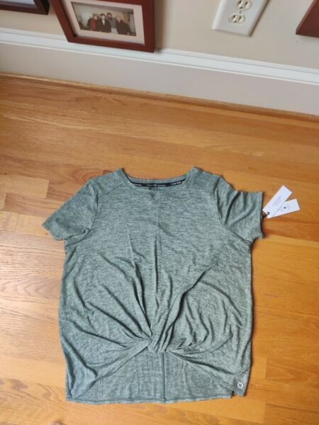 NWT Calvin Klein Performance Workout T Shirt Twist Front Large Heather Green $18.99
