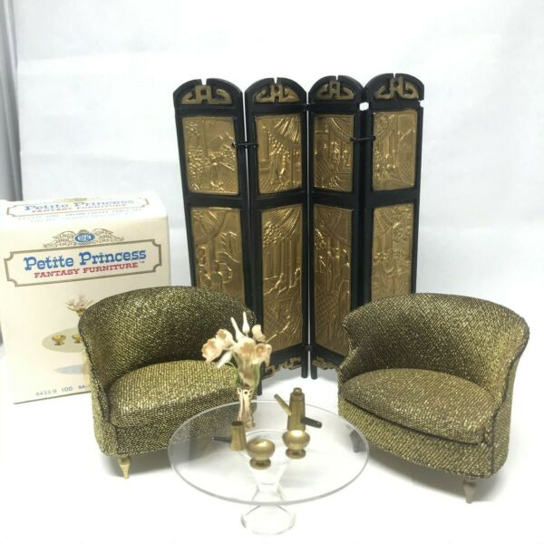 Petite Princess Lot Gold Chairs Coffee Table 1:16 Marx Little Hostess Furniture