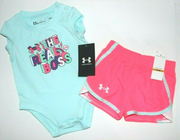 Baby Girls 0 3M Under Armour 2 pc set quot;Real Bossquot; bodysuit shorts New NWT $32