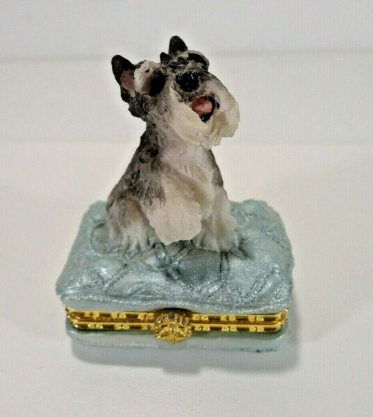 Schnauzer Dog on Top of Tiny Trinket Holder 2 Inches Tall Vintage Ships Free $14.95