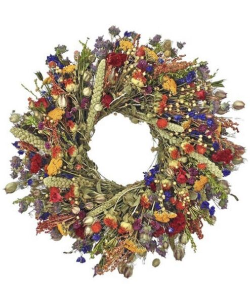 """22"""" Colorful Dried Flower Wreath Natural Home Decor Summer Fall Round Wreath $55.00"""