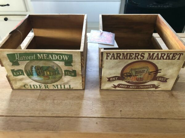 Lot of 2 Decorative Wooden Crates Box Harvest Meadow Farmers Market New