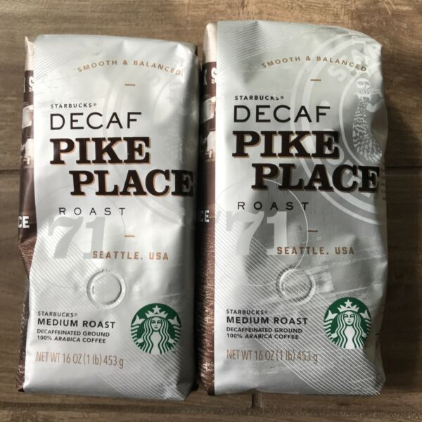 2 PACK Starbucks Decaf Pike Place Ground Coffee TWO 1lb Bags Sealed New
