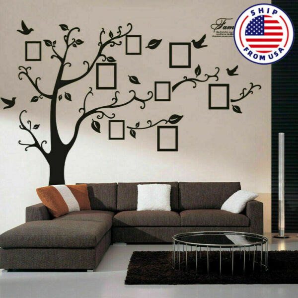 DIY Family Tree Wall Decal Sticker Removable Vinyl Photo Pictures Frame Black