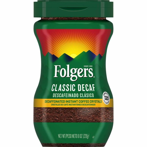 Folgers Classic Decaf Decaffeinated Instant Coffee Crystals • 8oz 120 6oz Cups