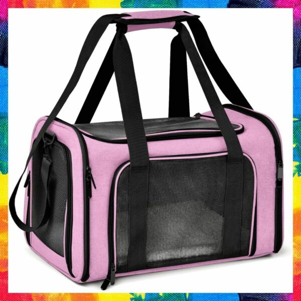 PET CARRIER Soft Sided Collapsible Puppy Cat Dog Carriers Medium Pink HENKELION $35.28
