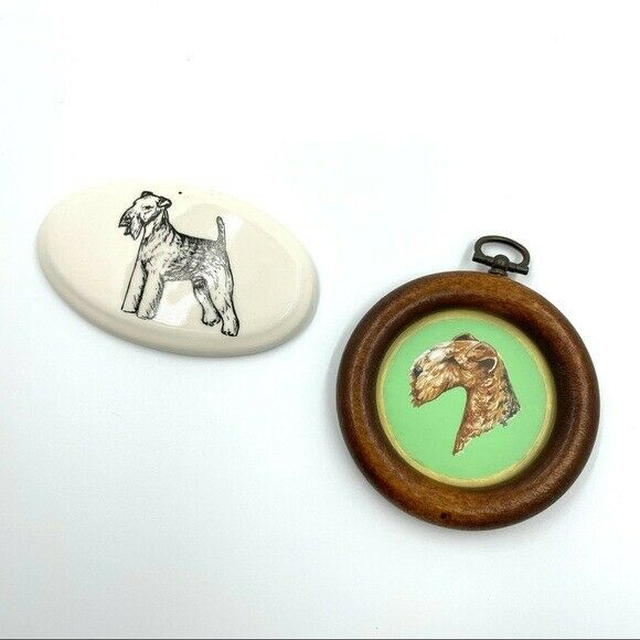 Vintage Terrier Dog Small Wall Hangings Handmade Ceramic Wood Collectables $24.95