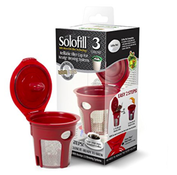 NEW Solofill K3 Chrome Cup Refillable Coffee Filter For Keurig Brewing System