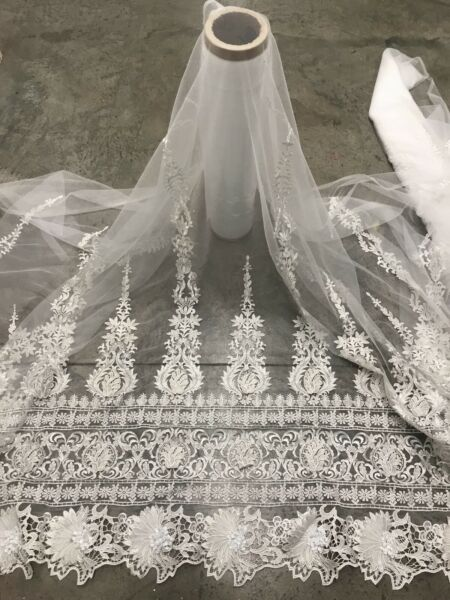 """White Border embroidery Lace Fabric 50"""" Width Sold By The Yard"""