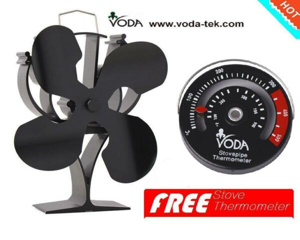 ThermometerHeat Powered wood Stove Fan for log wood burner fireplace eco fan $56.99