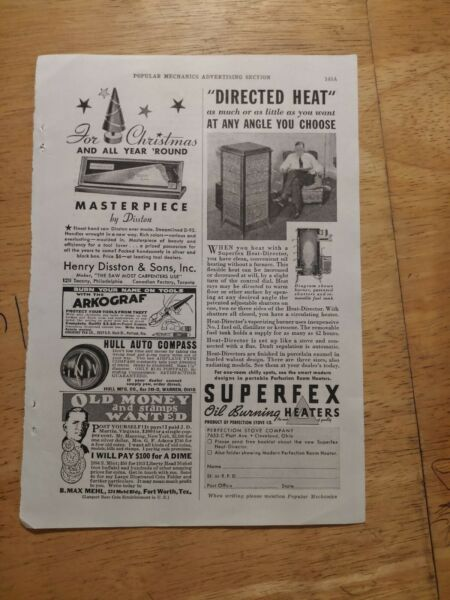 1935 print ads Superfex Directed Heat Heaters Christmas Disston Masterpiece Saws $12.75