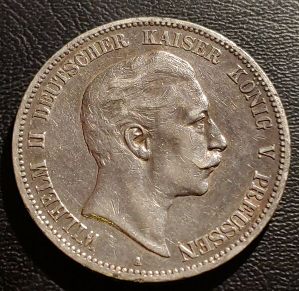 German States Prussia 1907A Wilhelm II 5 Mark Silver Coin.