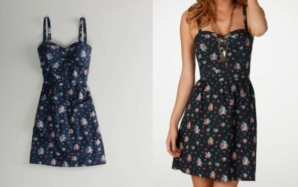 *american eagle PRINTED navy blue pink floral fit and flare cute CORSET DRESS*