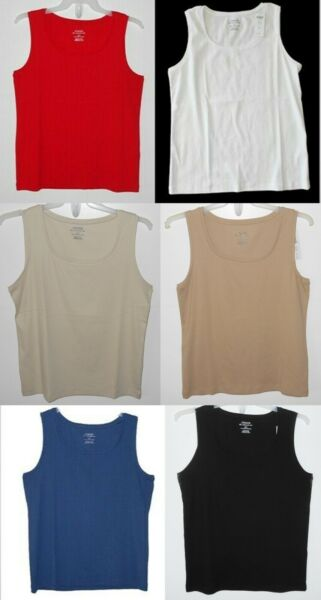 Chico#x27;s 3 XL NEW Tivona Ribbed Tank Top Basic Knit Ultimate Tee Asstd Colors $14.96