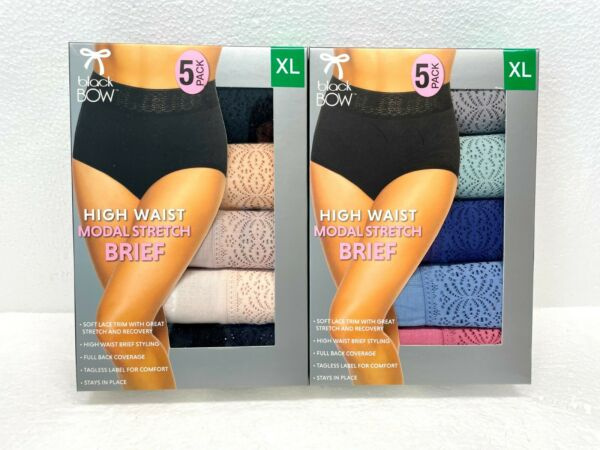 Black Bow Women#x27;s 5 Pack High Waist Brief with Lace NEW Pick Sizes Colors