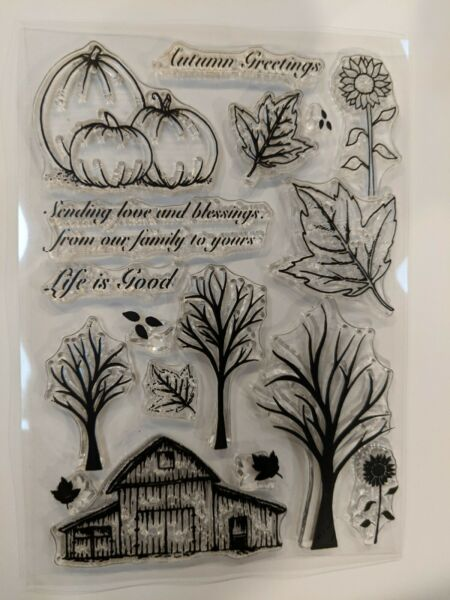 NEW Fall Holiday Cling Stamp Set barn tree pumpkins leaves