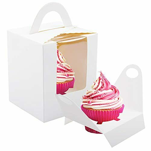 NPLUX Cupcake Boxes 60pcs Single Cupcake Carrier with Window Inserts for Bakery
