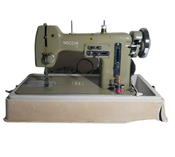 Vintage Necchi BU Mira Sewing Machine Made In Italy Green