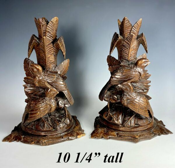 19th c. Pair 2 HC Black Forest 10quot; Tall Epergne Stands Candle Holder or Lamp