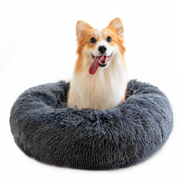 27.6in Calming Pet Beds for Dogs Anti Anxiety Fluffy Cats Bed Cuddler Washable $30.78